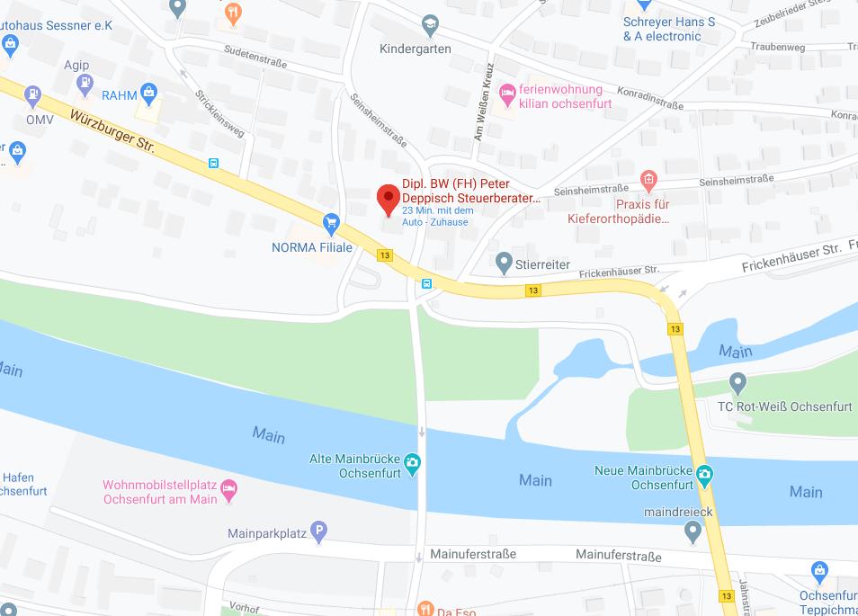 Map Bild Anfahrt Steuerberater-Deppisch